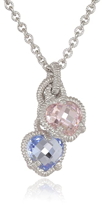Amazon judith ripka linen silver twin heart pink and blue judith ripka linen silver twin heart pink and blue pendant necklace 17quot aloadofball Images