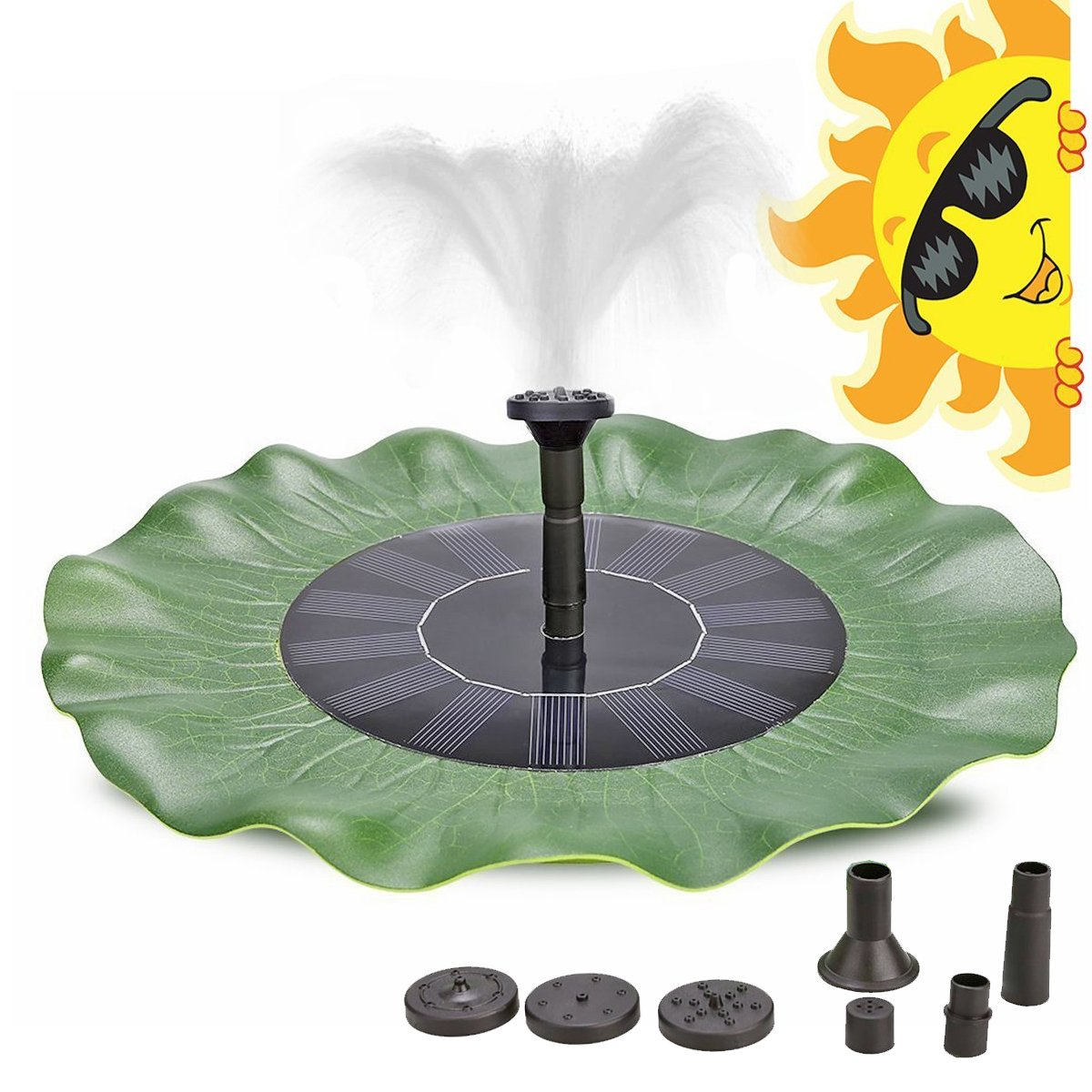 B2COOL Green Lotus Leaf Solar Fountain 8V 1.4W Decoration Kit with Micro Brushless Water Pump Submersible for Ponds Fountain and 4 Nozzle 200L/H Lift 20in