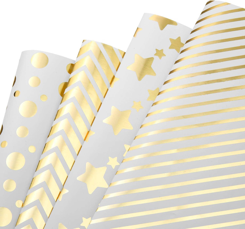 MOOKLIN ROAM Papel de Regalo, 4 Hojas Surtidos de Papel de Envoltura de Regalo Dorado con Puntos y Estrellas - Bodas, Cumpleaños, Christmas para Niños Hombre Mujer de Regalos (4 Diseño, 70 x 50cm)