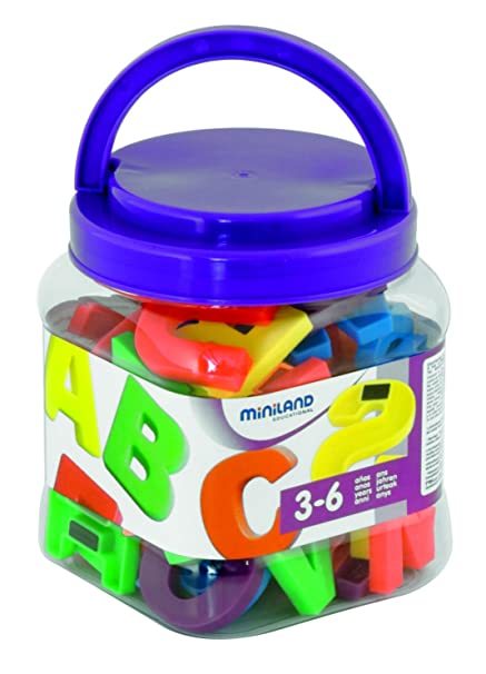 Amazon.com: Miniland Jumbo Magnetic Letters in Tub (72 ...