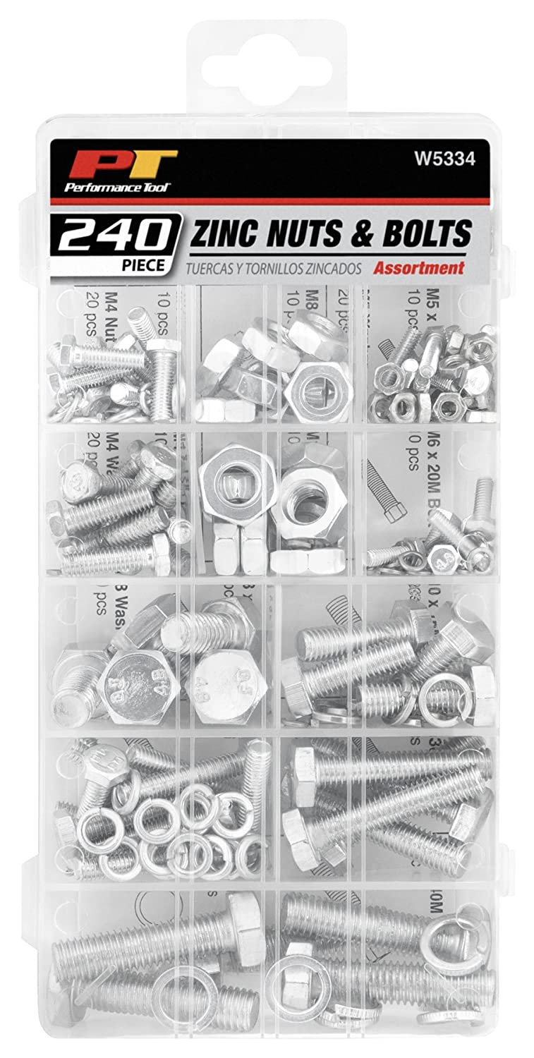 Performance Tool W5226 1,200pc SEA//Metric Nut /& Bolt Assortment With Case