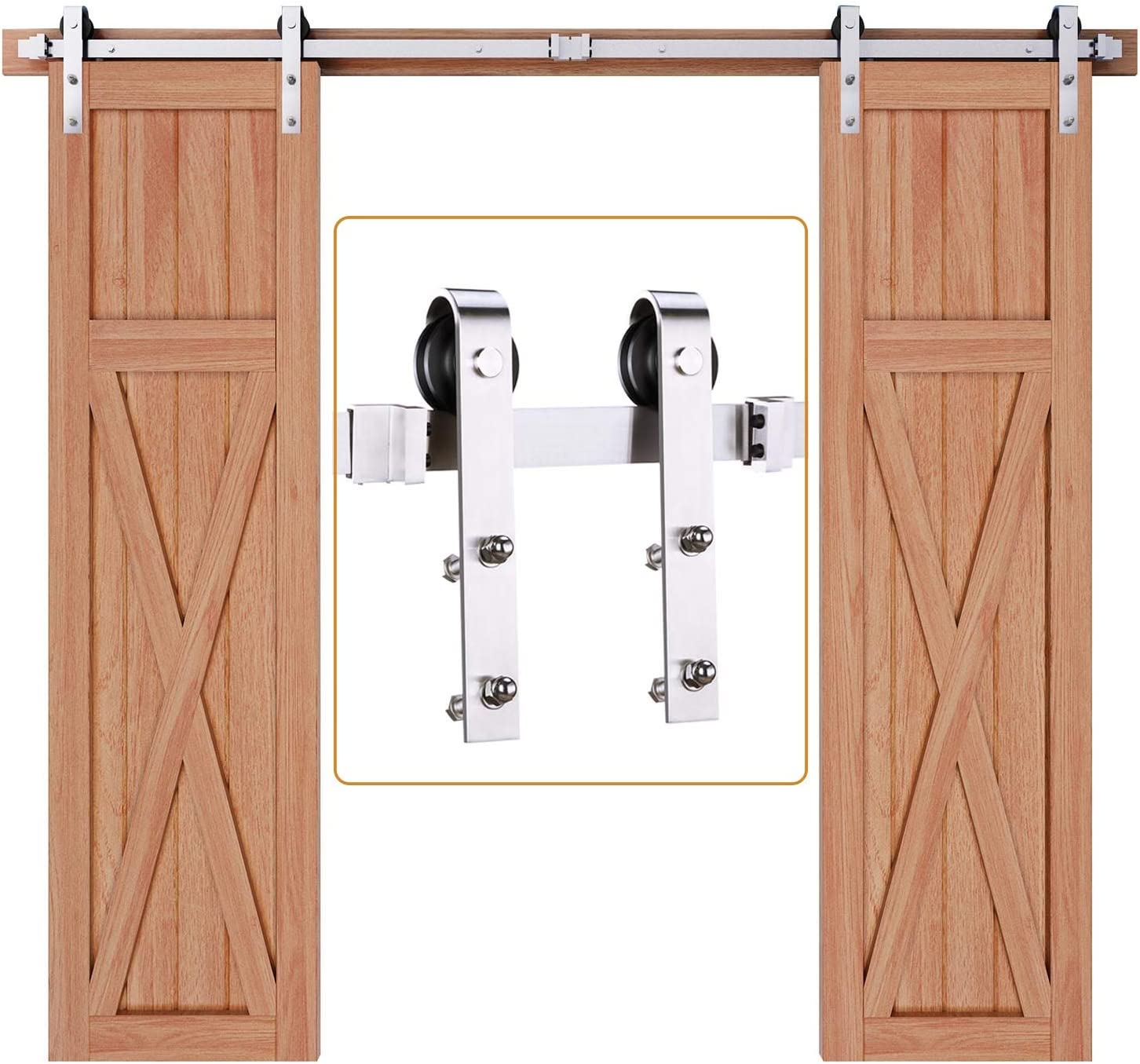 Length: 8ft Single kit 8ft Top Mount Stainless Steel Sliding Barn Wood Door Hardware Kits