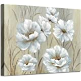 """White Flowers Canvas Wall Art: Yellowish Peony Artwork Floral Picture Painting for Living Room (36"""" x 24"""" x 1 Panel)"""