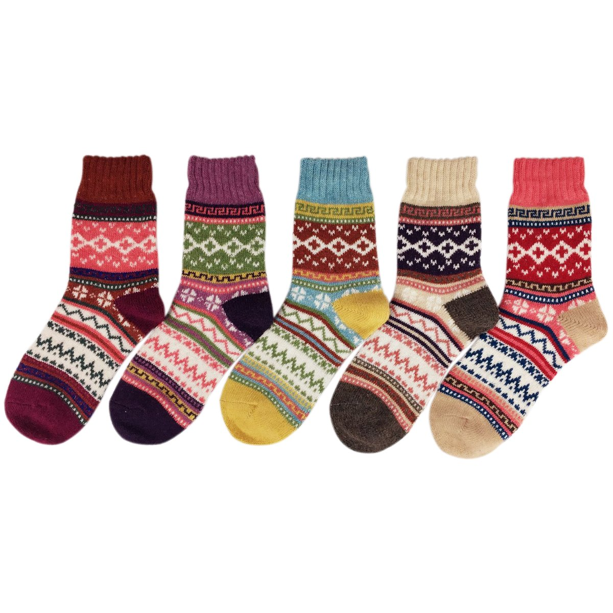 JOYEBUY 5 Pack Winter Fall Women Socks Vintage Style Cotton Knitting Wool Warm Crew Socks (One Size, Style 5) by JOYEBUY (Image #2)