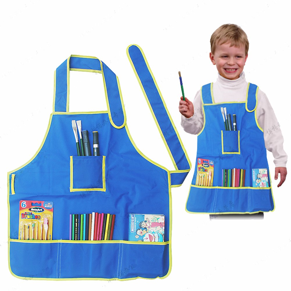 Kids Art Apron Waterproof Smock for Painting, Kitchen with Multiple Pocket for 5-9 Years Old qiaoniu