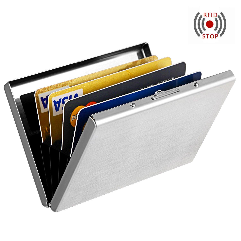 MaxGear RFIDブロックウォレット クレジットカードホルダー クレジットカード財布 本革ウォレット B01FPM3VLW Fingerprint-Free Silver Fingerprint-Free Silver