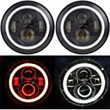 """Autvivid 2 PCS 7"""" Cree LED Headlight with Angel Eyes 40W / 30W High / Low Beam For Jeep 1997-2017 Wrangler JK LJ TJ and Harley-Davidson Motorcycle (Red)"""