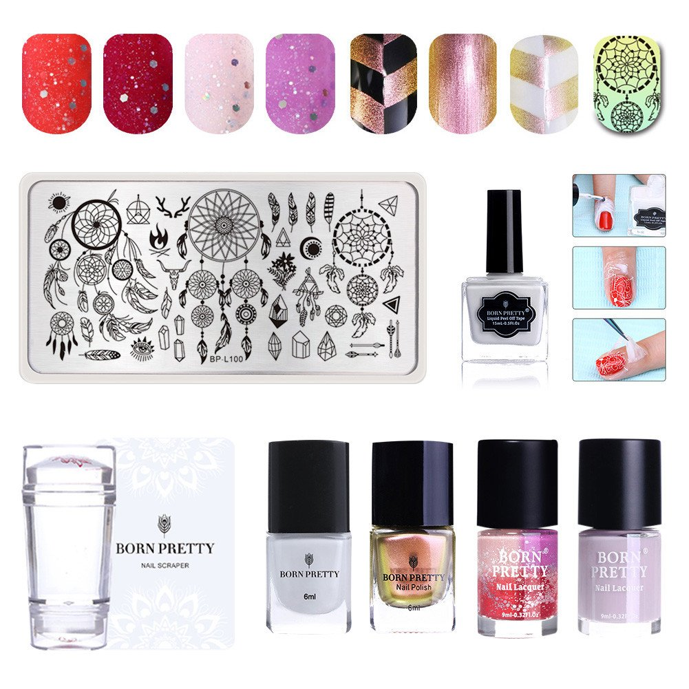 BORN PRETTY 4 Bottles Nail Polish Set Chameleon Color Changing Matte Varnish Peel Off Latex with Stamping Kit