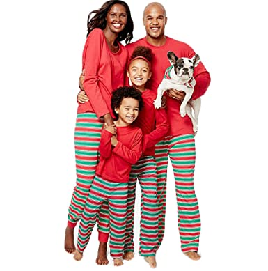 e74ad4bed8 ... ZADANA Family Matching Christmas Pajamas Sets for Family Red and Green  Striped Pajamas (Mens
