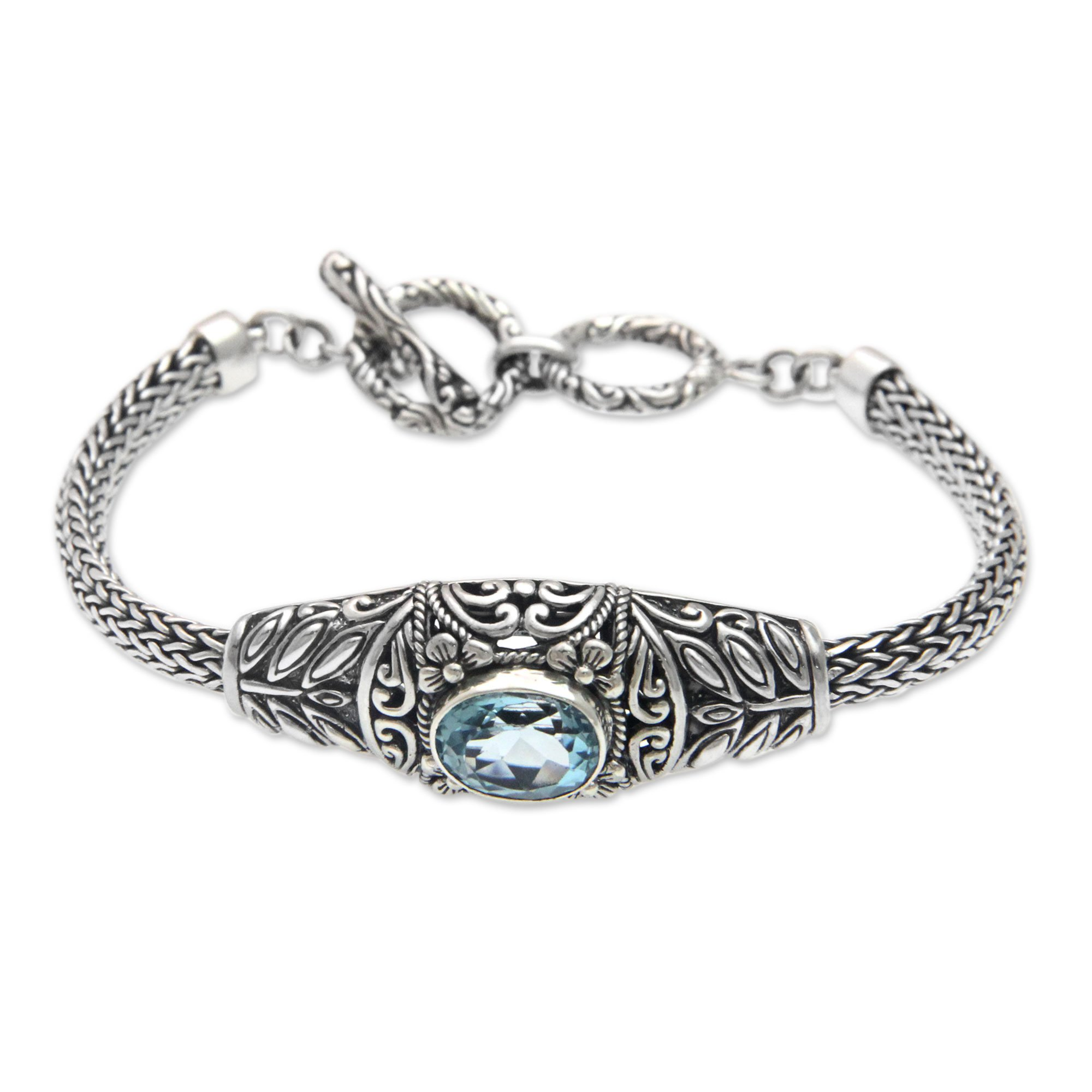 NOVICA Blue Topaz .925 Sterling Silver Chain Bracelet, 7.5'' 'Jungle Lagoon'