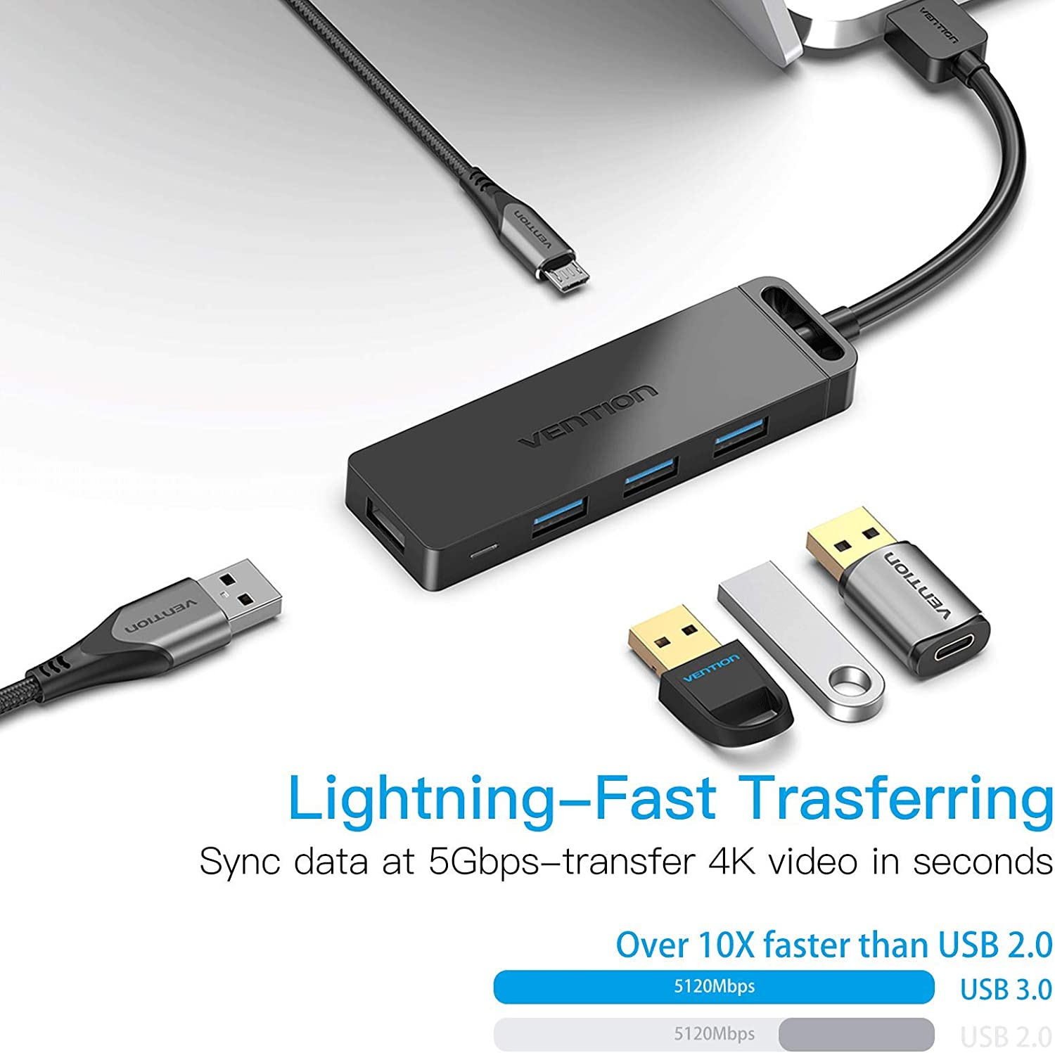 Mobile HDD PC 1.5FT//0.5m USB Hub Charging Supported VENTION 4-Port USB 3.0 Hub Ultra-Slim Data USB Splitter Compatible for MacBook Laptop Surface Pro Flash Drive