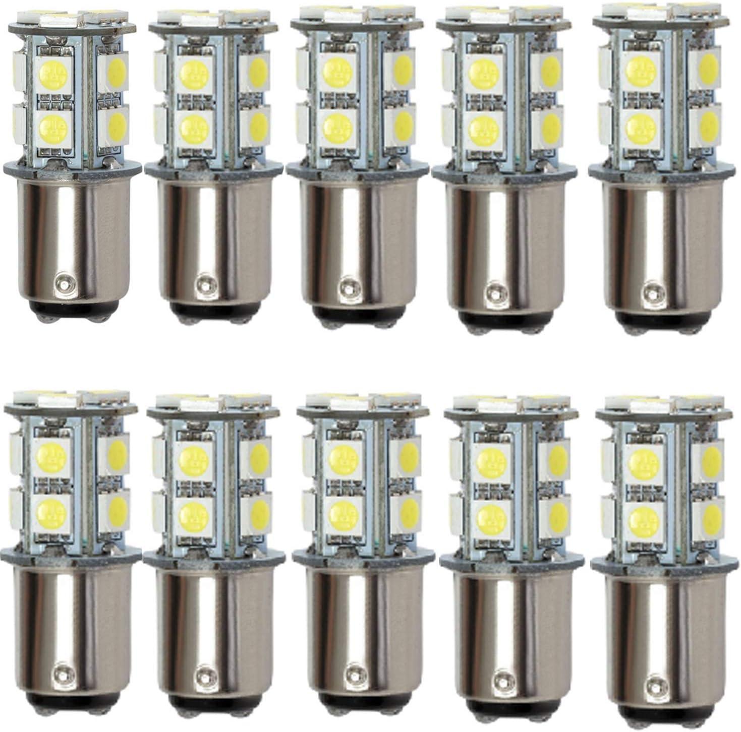 AIYOWEI BA15D 1142 1076 1176 - Bombilla LED para coche (13-5050SMD AC/DC12V-24V, 10 unidades), color blanco