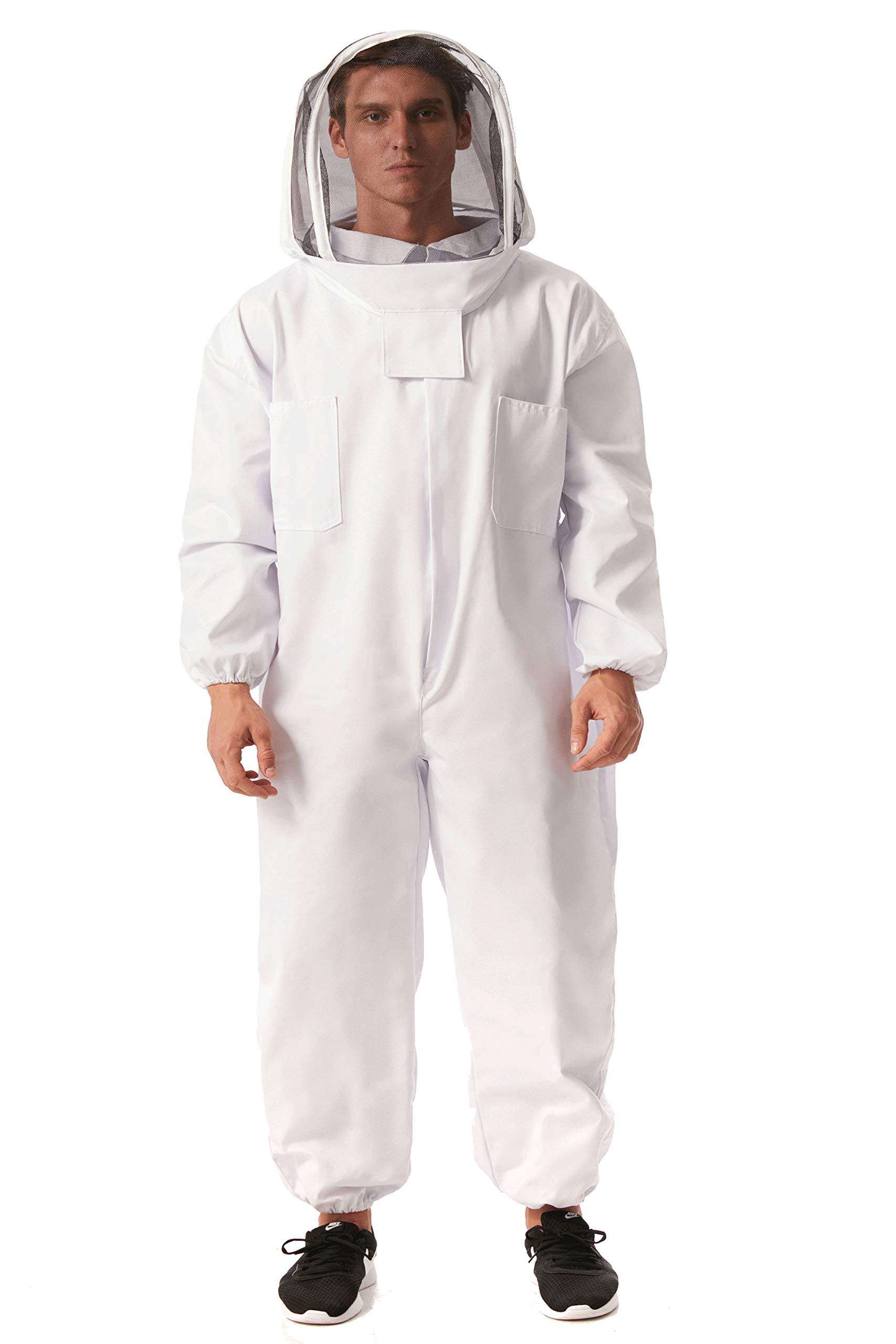 Professional Bee Keeping Suit Cotton Full Body Beekeeping Suit Jacket with Veil Hood (XXL) by Unilove