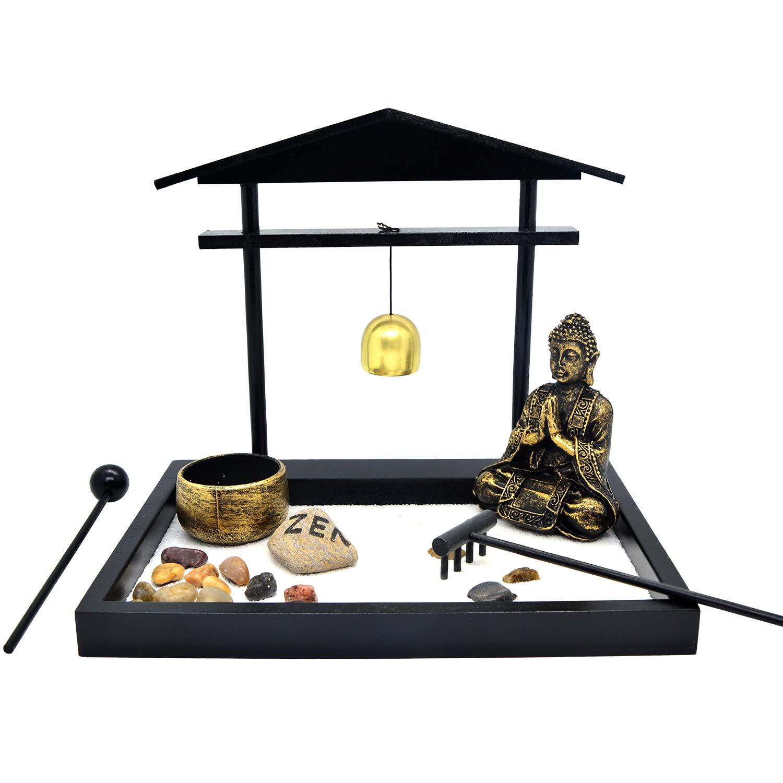 HOMELEX Zen Rock Garden, Buddha Sculpture Bell Rake Sand Candle Incense Burner Tray Gift (SCZ-01)