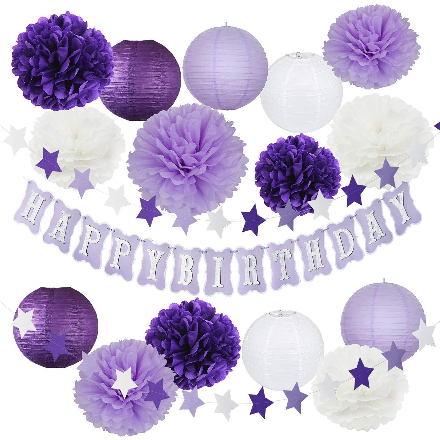 Purple Silver Birthday Party Decorations Happy Birthday Banner Purple Star Garland Tissue Pom Pom Paper Lanterns for Girl Purple Birthday Party Supplies