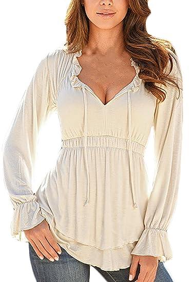 ... Sencillos Color Solido Elegantes Vintage Alto Cintura Slim Fit Volantes Casual Spring Otoño Camisas Blusas T-Shirts Tops: Amazon.es: Ropa y accesorios