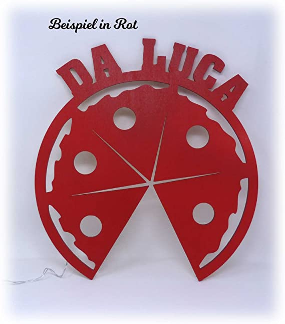 Licht24 Pizza de repetición Deko lámpara con nombre accesorios para la Pizzería Regalos Juego para pizza Panadero panadero Cocineros Cocina Decoración Salón ...