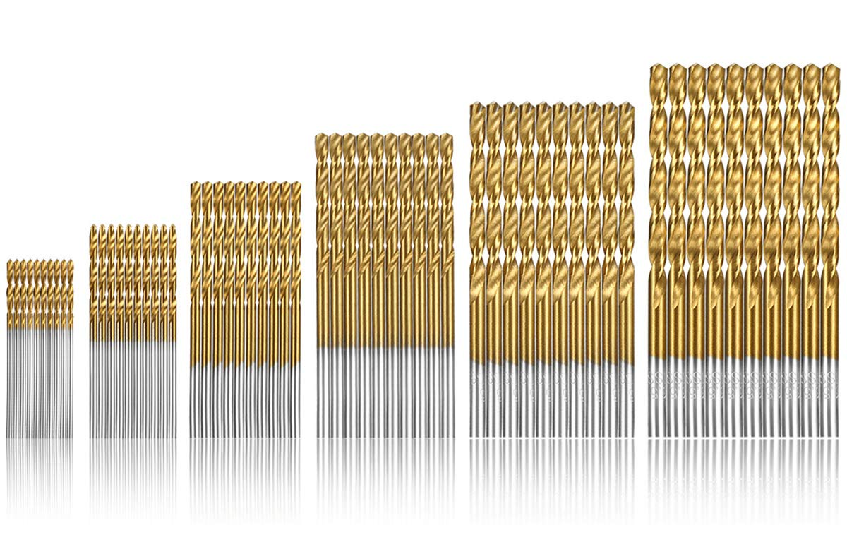 60pcs Twist Drill Bits, Qibaok Micro Titanium Drill Bits Metric HSS Drill Bit Set for Wood Plastic Aluminum Copper