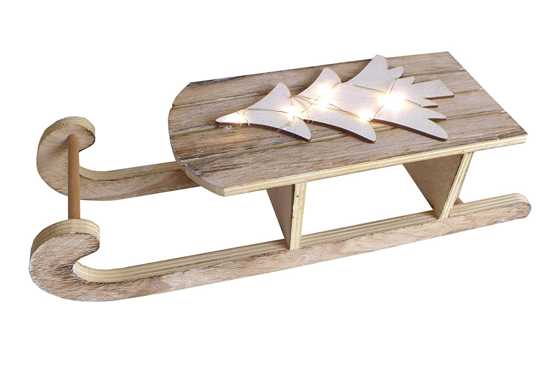 Deko Holz Schlitten 40 cm mit LED Baum Dekoration Holzschlitten Weihnachten