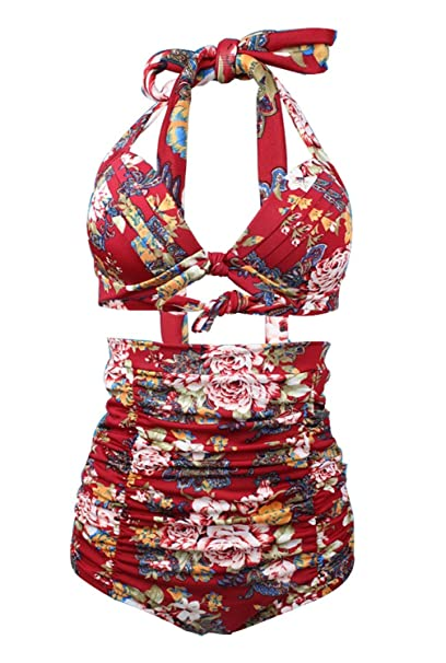 bd58fef681 Womens Chic Retro 50s Floral Halter High Waist Bikini Carnival Swimsuit  Bathing Suit (Small