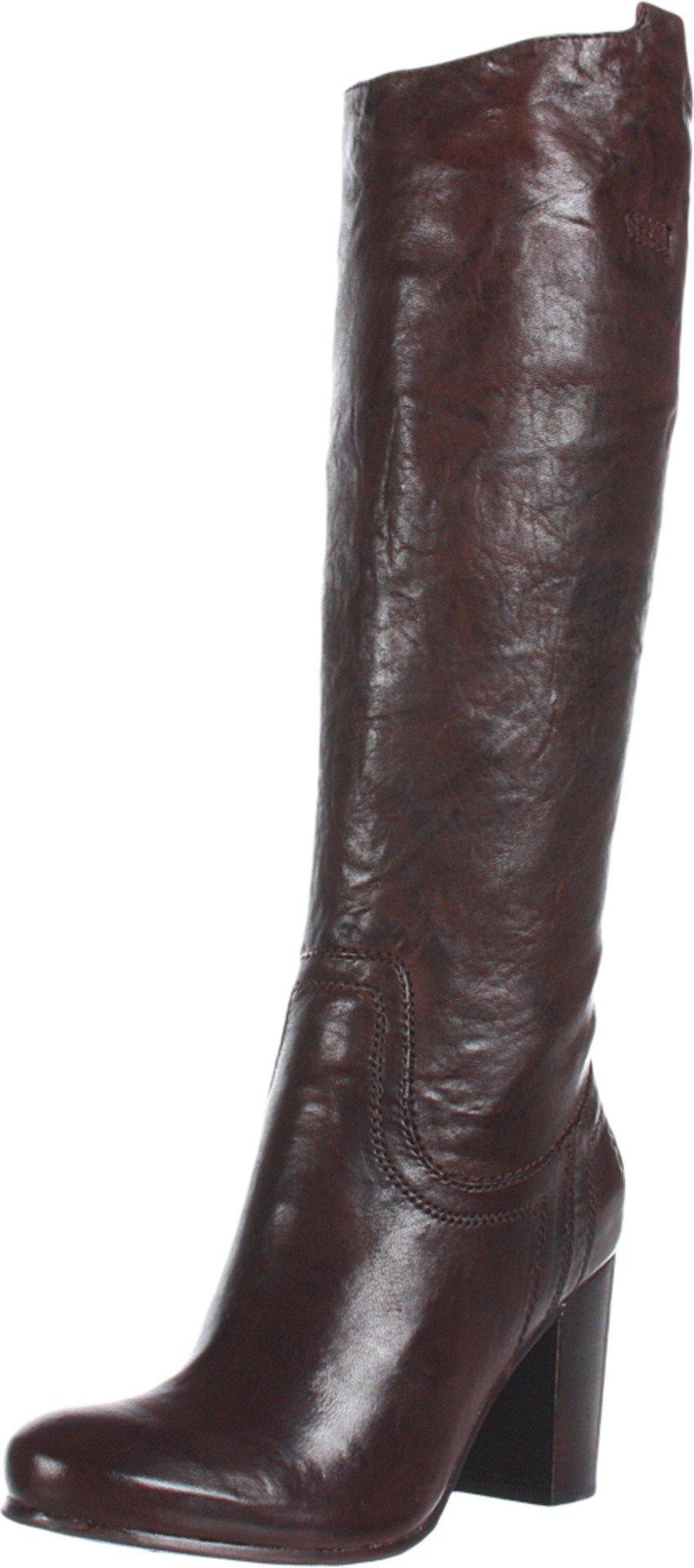 FRYE Women's Carson Heel Tab Knee-High Boot, Dark Brown, 10 M US