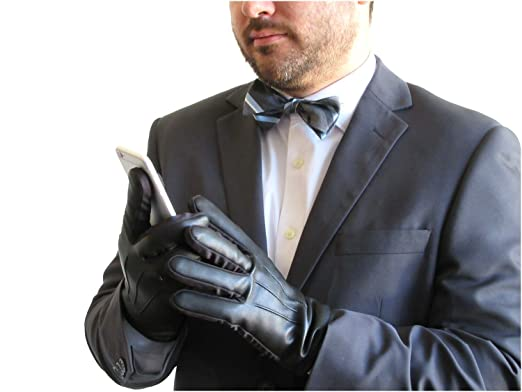31c60bc973981 Fownes Touchpoint Men's Cashmere Lined Black Stretch Lambskin Leather Gloves -S