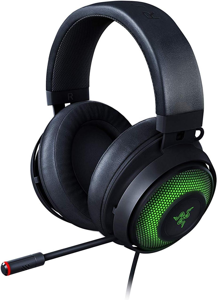 Razer Kraken Ultimate Auriculares Gaming USB, Con Micrófono con cancelación activa de ruido, THX Spatial Audio, RGB Chroma, Compatible con PC, PS4 y Switch Dock, Negro