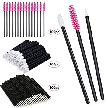 Amazon.com: 300 Pieces Disposable Eyebrow Eyelash Mascara Brush Lip Brush Eyeliner Brush Makeup Brush Tester Tool Kit Cosmetic Applicator Mascara Wands Set ...