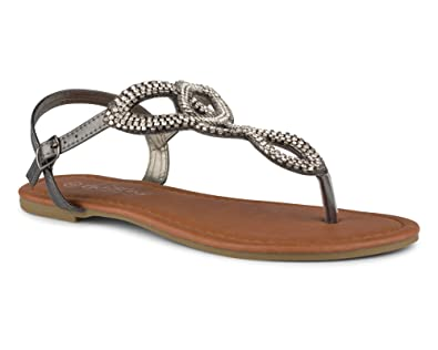 13bd70191 Twisted Women s Daisy Faux Leather T-Strap Sandal with Rhinestone Accents -  Hematite
