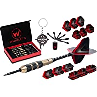 Whimlets Steel Tip Darts Set - Professional Darts with Extra Aluminum Shafts, O-Rings, Flights + Dart Tool and Sharpener + Gift Case + Darts Guide