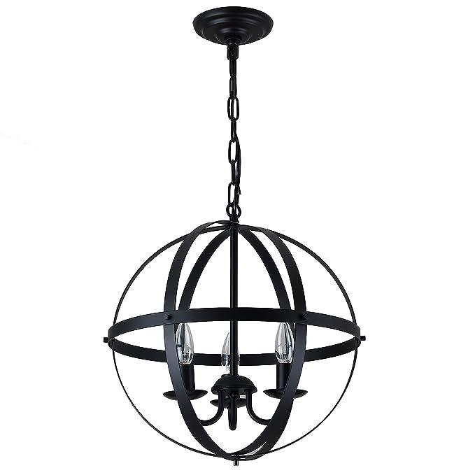 Pendant Light Industrial Globe Chandelier Vintage Metal Spherical