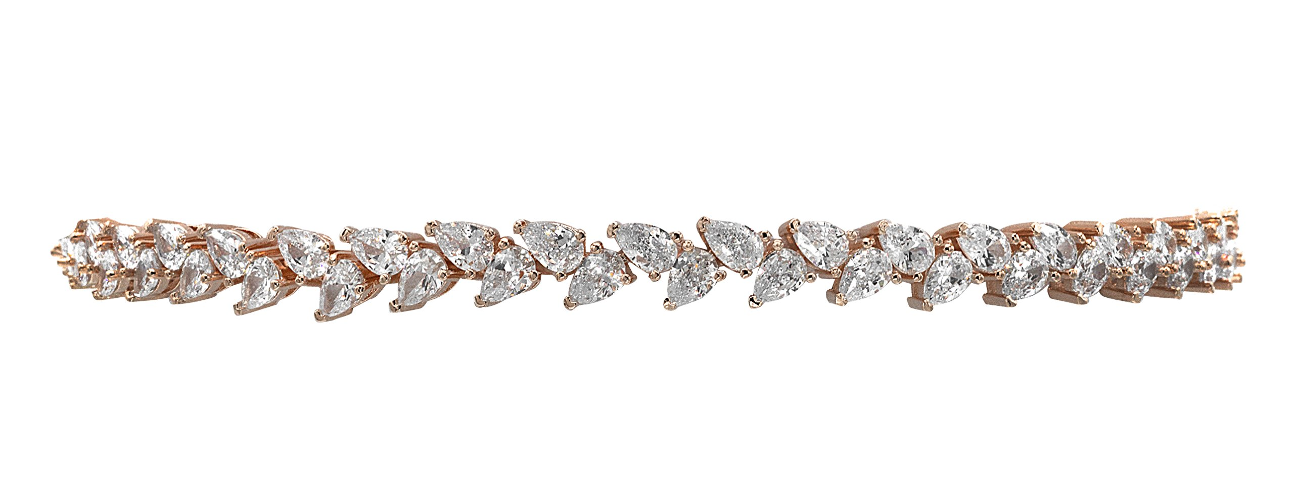 Samfa Style Pear Shaped Diamond Choker Necklace with Extension (rose-gold-plated-brass)