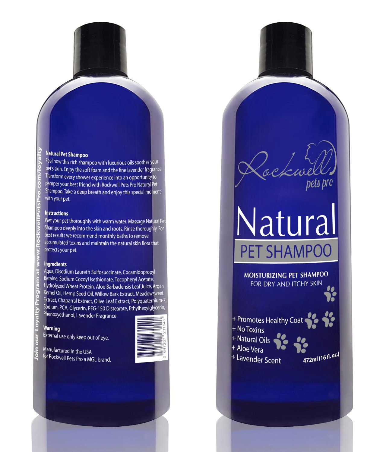 Natural Dog Shampoo for dry and itchy skin made in the USA (16 fl. oz)