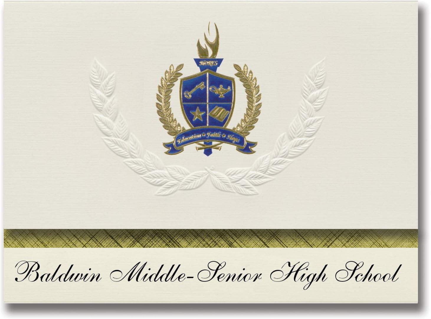 Signature Announcements Baldwin Middle-Senior High School (Baldwin, FL) Graduation Announcements, Presidential style, Elite package of 25 with Gold & Blue Metallic Foil seal