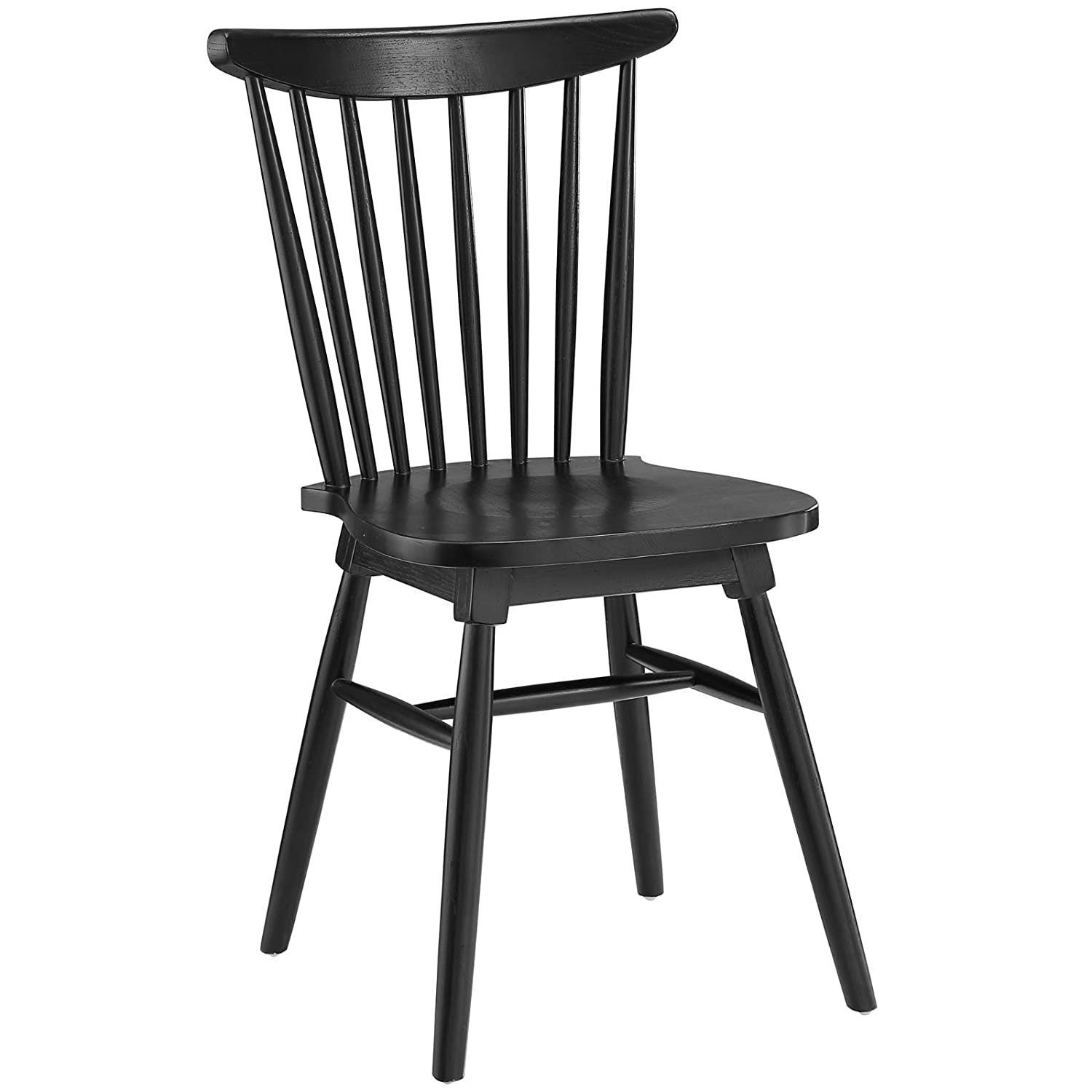 Modway Amble Windsor Spindle Back Elm Wood Kitchen and Dining Room Chair in Black