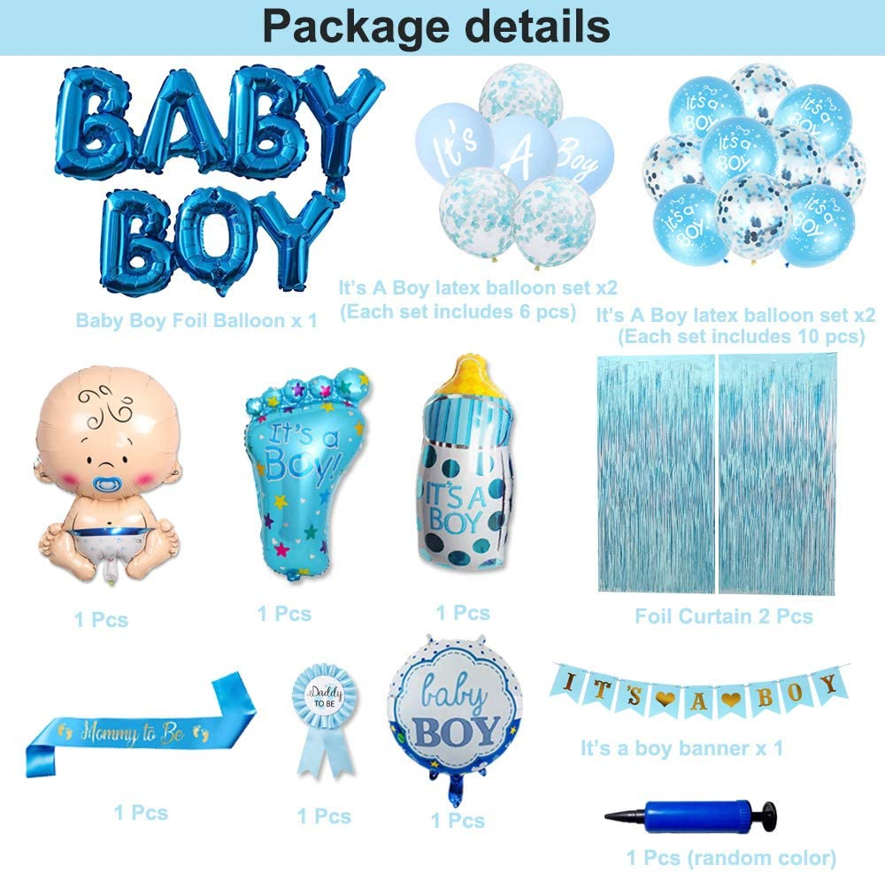 Large Baby Bottle Balloon Blue Foil Curtains Baby Boy Letter Foil Balloons Baby Shower Party Supplies Kits with Mom To Be Sash Baby Shower Decorations for Boy It/'s a Boy Latex Balloons