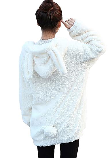 Seemehappy Warm Soft Cute Bunny Shape Coat Bunny Hoodies With Ears