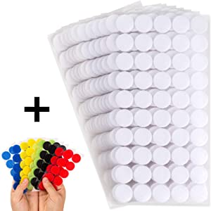 "Miracle Market 700 Pcs (350 Pairs) of White and Colorful Hook and Loop Self Adhesive Fastener Dots | Sticky Back ¾"" (20 mm) Diameter Heavy Duty Circles 