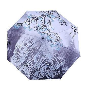 WJCGX Ilustración Creativa Paraguas Ultra Ligero Plegable Paraguas UV Pintura De Tinta Estilo Chino Sombrilla