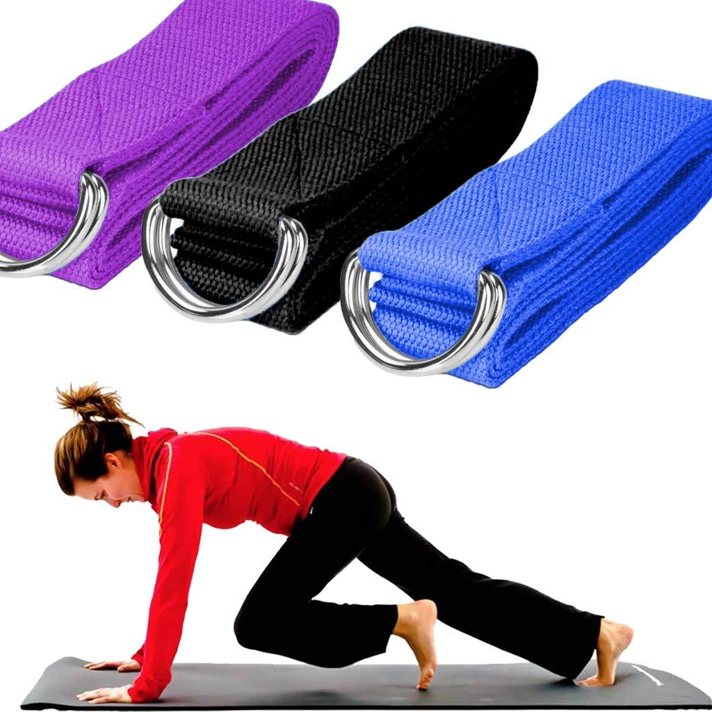 DoGeek Cinghia da Yoga 3.8 cm Cinghie Durevoli in Cotone con Fibbia ad Anello Regolabile per Stiramento,Fitness Cinghia Allenamento Generale