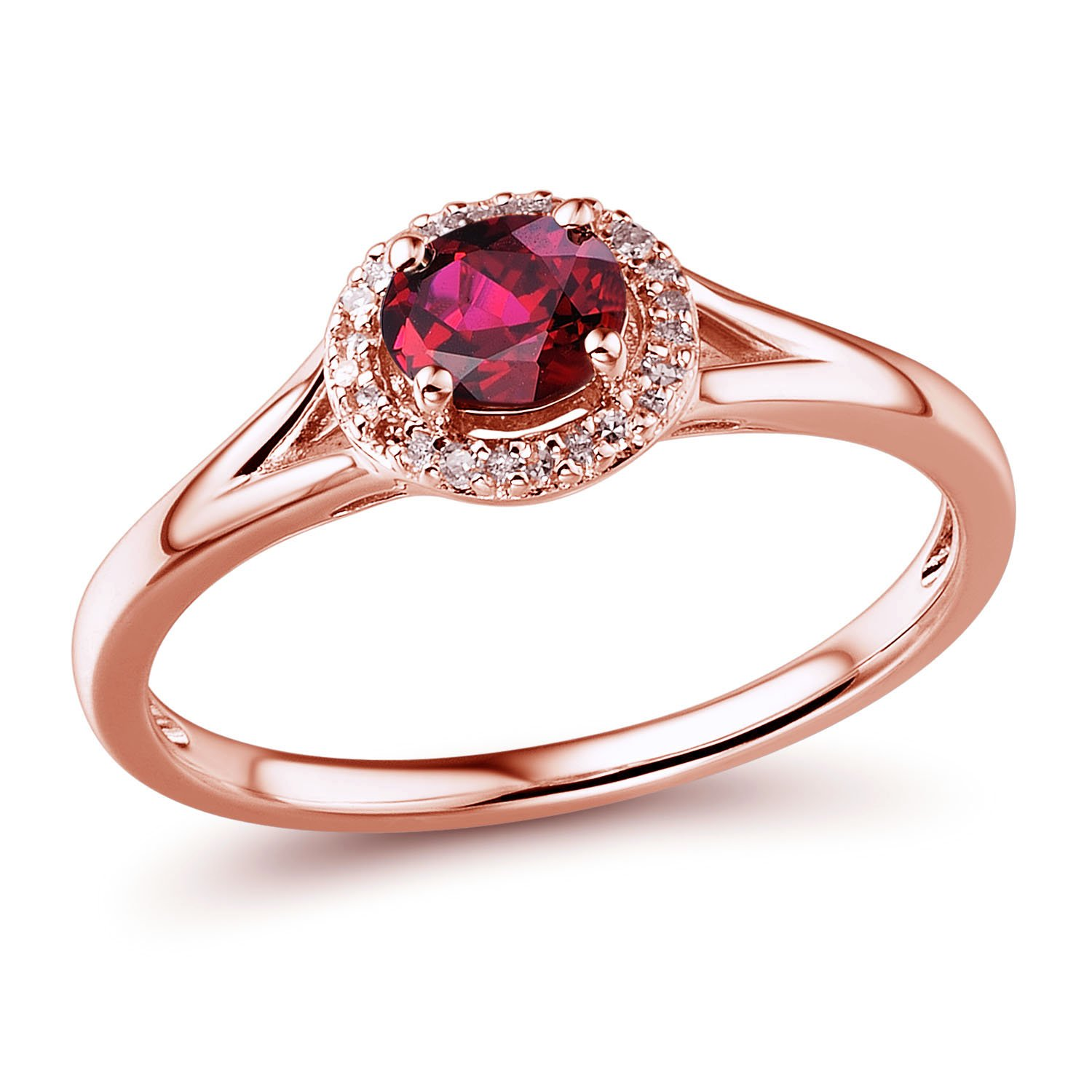 Lab Created Ruby Ring Diamond Accented Halo in 10k Rose Gold and White Rhodium Plating