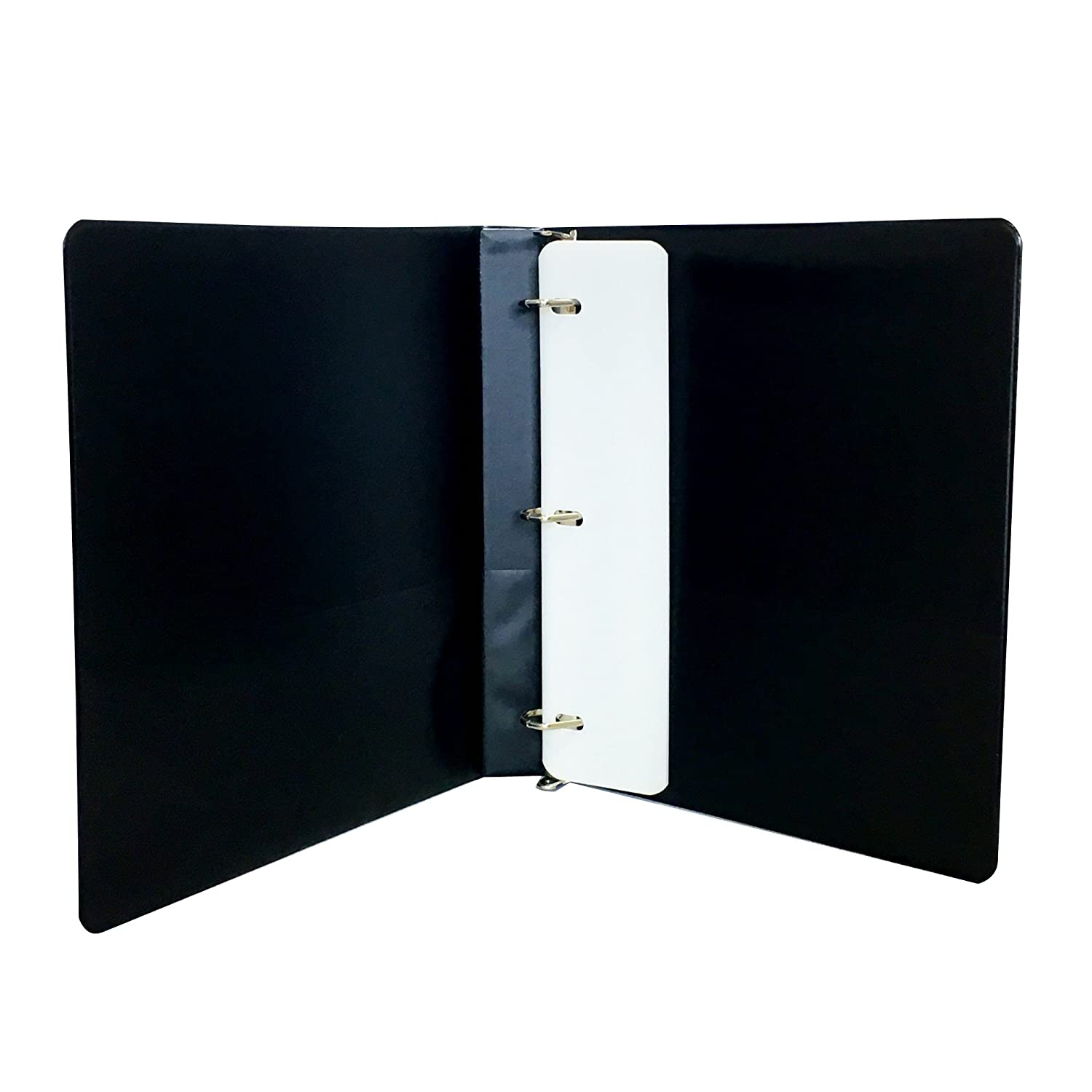 3 Ring Binder Black 5 Inch Slant D-Rings Clear View Pockets