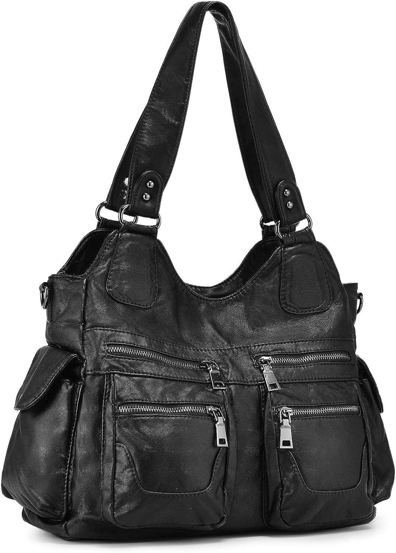 BAIGIO Women Handbags Hobo Tote Bag Washed Soft Shoulder Leather Bags