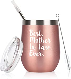 Mother in Law Wine Tumbler with Lid, tumbler for Mother in Law from Daughter in Law, Son in Law, Funny Christmas Birthday Mother Day ideas, 12Oz Insulated Stainless Steel Tumbler, Rose Gold
