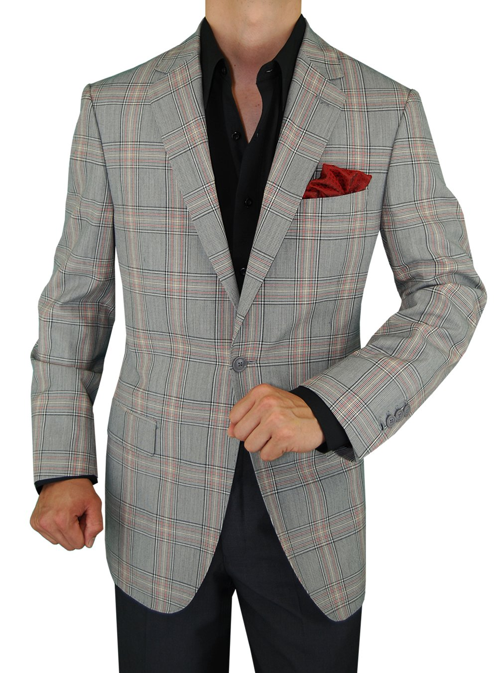 Gino Valentino 1 Button Jacket Windowpane Gray Blazer (42 Regular, Gray)