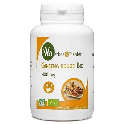 Hierbes y plantas Ginseng rojo orgánico 200 comprimidos 400 ...