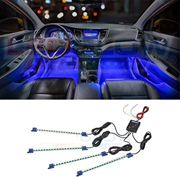 Blue 12LED Interior Kit Glow Under Dash Foot Well Seat Inside Light For Nissan
