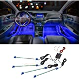 LEDGlow 4pc Blue LED Interior Footwell Underdash Neon Lighting Kit for Cars & Trucks - 7 Unique Patterns - Music Mode…