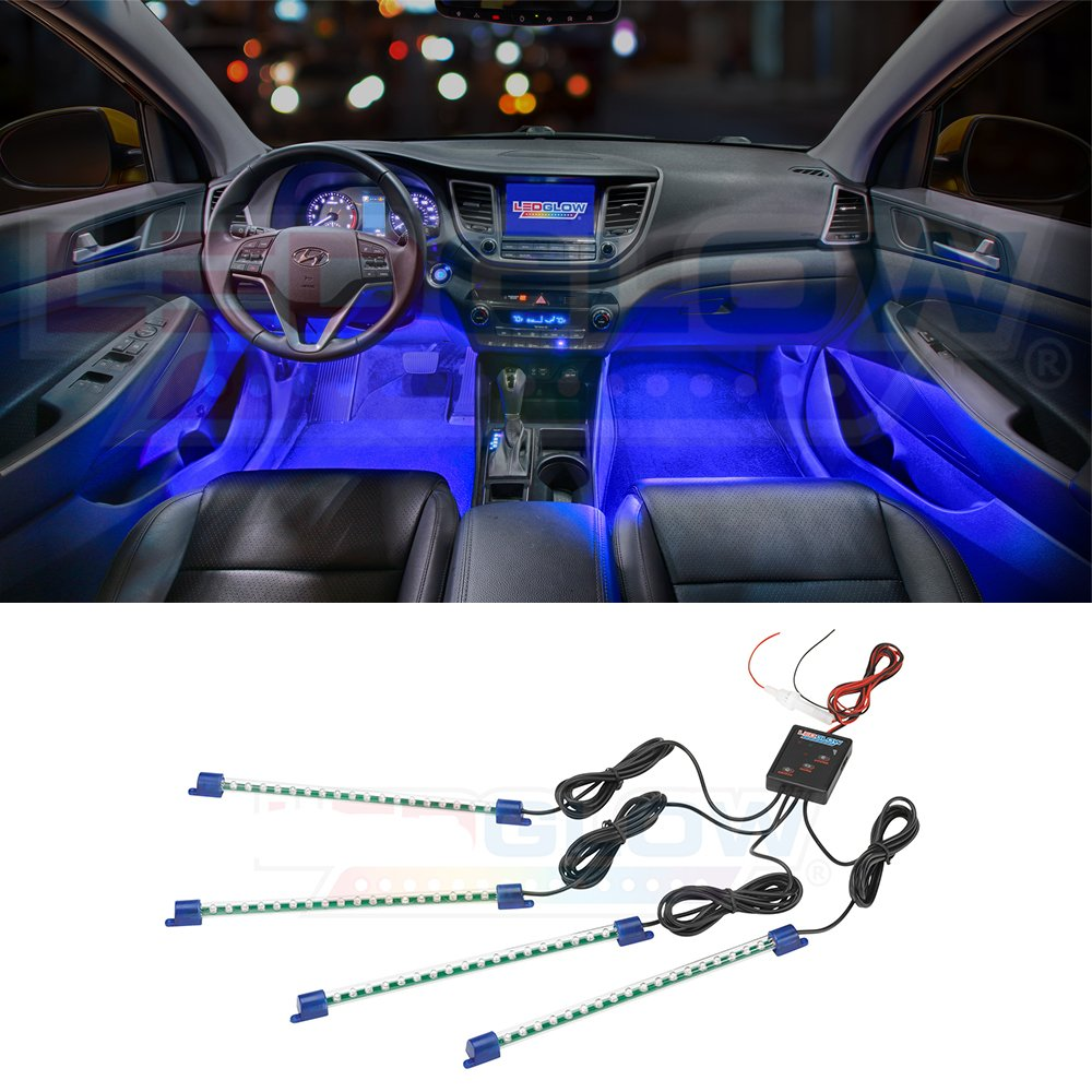 Ledglow 4pc Blue Led Car Interior Underdash Lighting Kit Fuse Box In Got Wet Universal Fitment Music Mode Auto Illumination Bypass Automotive