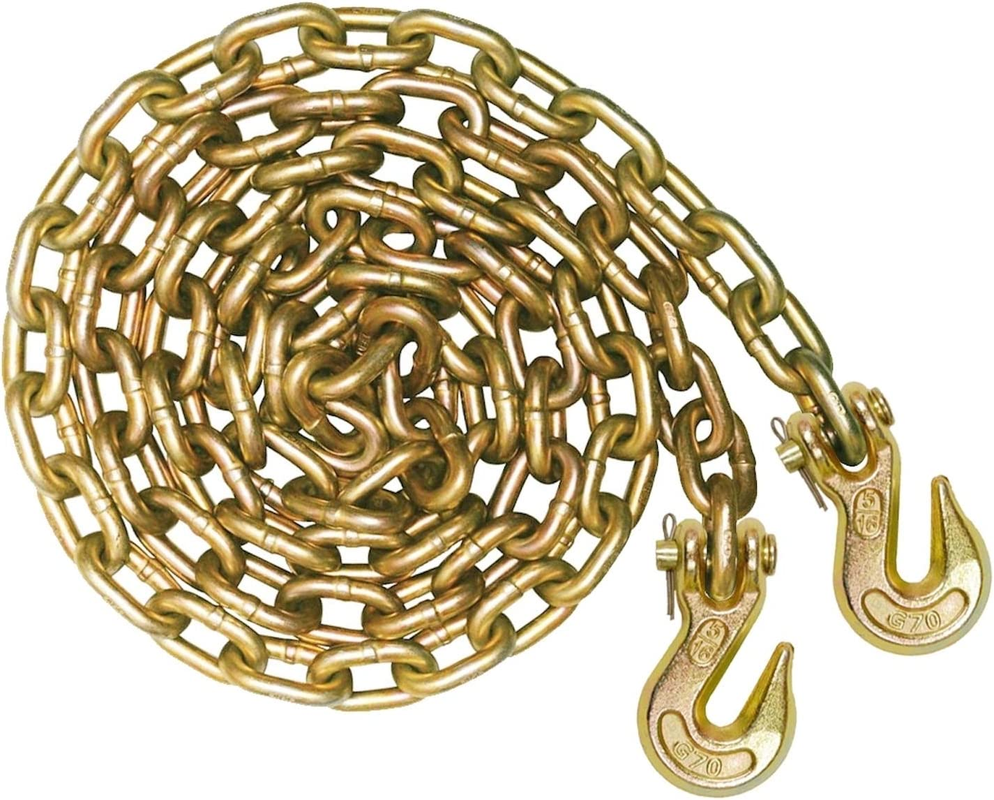 VULCAN Grade 70 Safety/Binder Chain with Clevis Grab Hooks - 5/16 Inch x 10 Foot - 4,700 Pound Safe Working Load